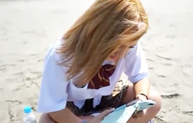 【ビーチで発見(^^♪家出娘】制服茶髪のDQNちゃん♪裏バイト誘ったら簡単ノリノリ~中出しハメ撮りしちまった~~wwww
